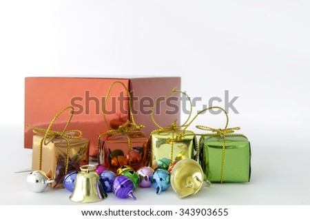 close up. gift box and bell on white background for  christmas