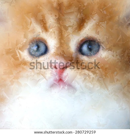 Close-up ginger kitten. Illustration/ abstraction.