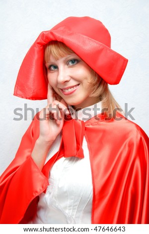 Close-up girl in the red. - stock photo
