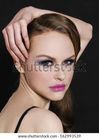 Close up girl ,Perfect Skin - stock photo