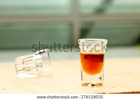 Close up  glass of brandy - stock photo