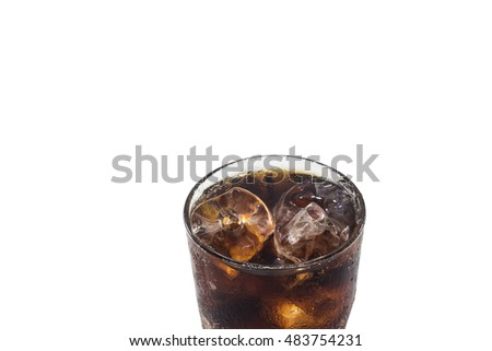 Close-up glass of cola with ice isolated on white background
