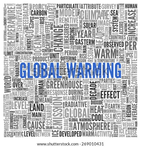 Close up GLOBAL WARMING Text at the Center of Word Tag Cloud on White Background. - stock photo