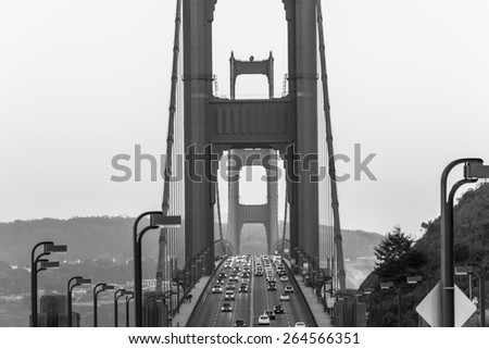 Close up Golden Gate Bridge Black and White - stock photo
