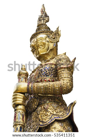 Close up :Golden Giant Sculpture at Emerald Buddha Temple Isolated on White Background