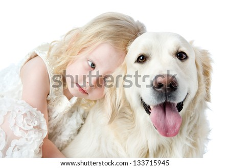 close up Golden Retriever and girl. looking at camera. isolated on white background - stock photo