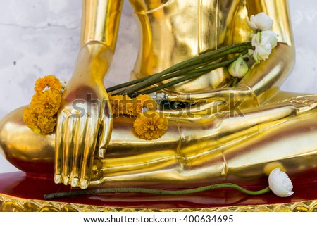 close-up Golden Statue of Buddha at thai temple in Songkran festival thailand, Bangkok, Thailand, They are public domain or treasure of Buddhism - stock photo