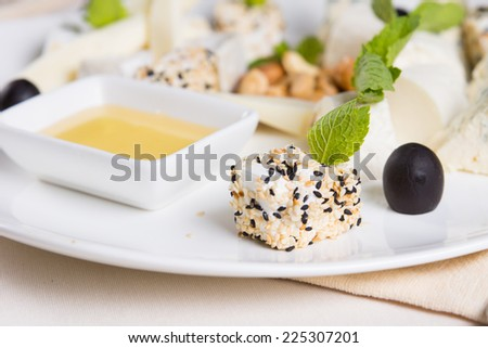 Close up Gourmet Healthy Delicious Food with Dip Sauce on White Plate Served on the Table. - stock photo