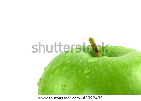 Close up Green Apple with drops of water - stock photo