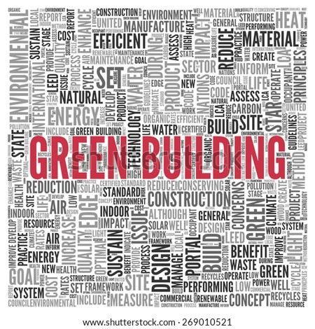 Close up GREEN BUILDING Text at the Center of Word Tag Cloud on White Background. - stock photo