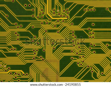 Close-up green circuit board background in hi-tech style