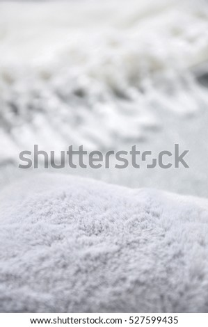Close up grey puffy fabric with white background