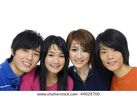 Close up group of college or university students