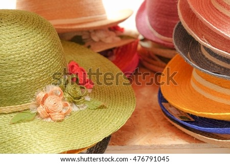 Close up group of hats