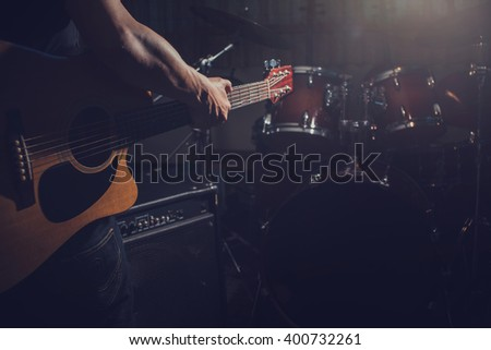 Close up Guitar in music room  - stock photo