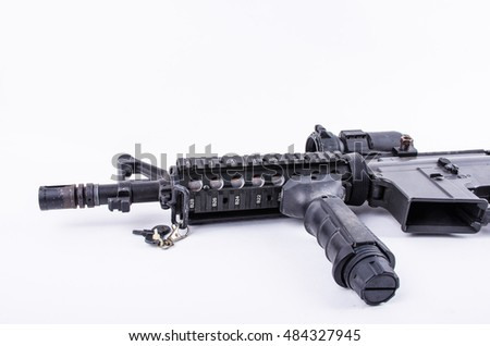 close up gun carbine with silencer isolated on a white background
