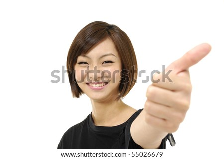 Close up half young lady showing thumb's up sign - stock photo