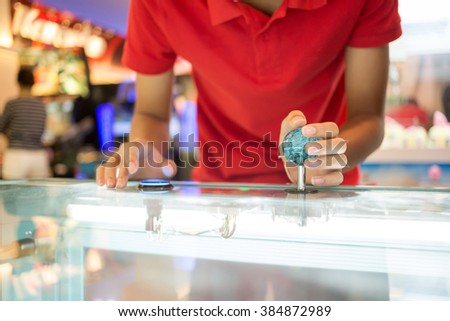 Close up hand control joystick of arcade,Vintage tone. - stock photo