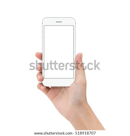 Close Hand Hold Phone Isolated On Stock Photo (Royalty Free ...