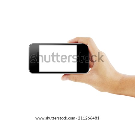 Close up hand holding smart phone