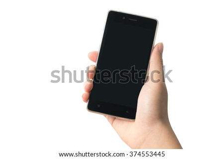 Close up hand of man holding smartphone isolated on white background, included clipping path - stock photo