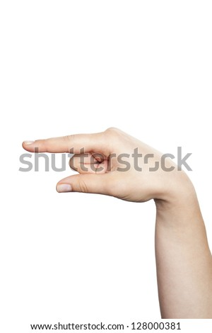 Close-up hand pointing to the left side isolated on white background