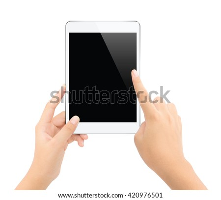 close up hand touching on tablet isolated white clipping path inside clean and easy adjustment - stock photo