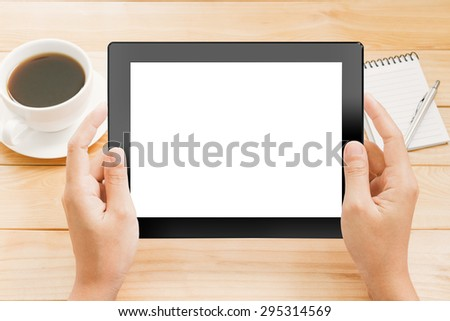 close up hand using tablet white screen display