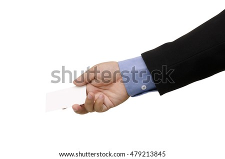 Close up hands business man with Exchange business card for first time meet,  isolated on white background
