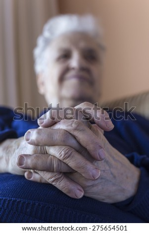 close up hands of a senior person - stock photo