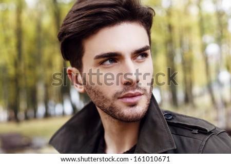close-up handsome man portrait - stock photo