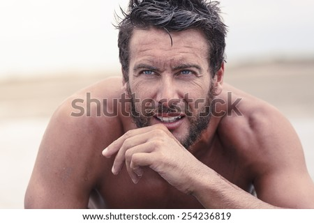 Close up Handsome Thoughtful Athletic Man with No Shirt  - stock photo