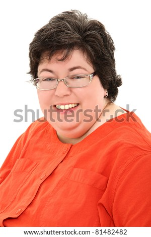 Close up Happy and Confident Obese Forties Woman Smiling - stock photo