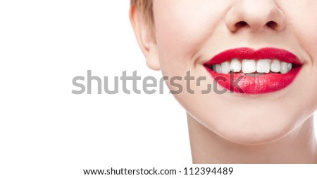 Close-up happy female smile with healthy white teeth, Cosmetology, dentistry and beauty care. Macro of woman's smiling mouth - stock photo