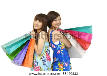 Close up Happy shopping two woman - stock photo
