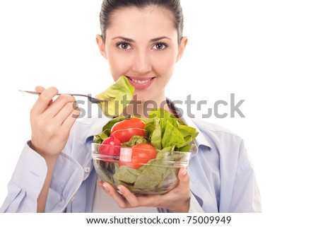 close up, happy smiling woman with salad on white background - stock photo