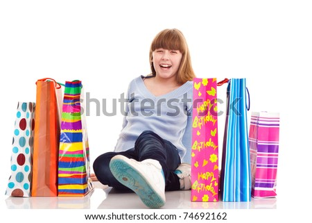 close up, happy teenager girl with gift, isolated on white - stock photo