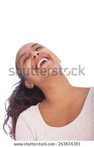 Close up Happy Young Asian Woman with Curly Hair Laughing Out Loud with Eyes Closed. Isolated on White Background.
