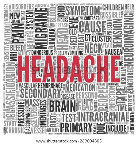 Close up HEADACHE Text at the Center of Word Tag Cloud on White Background. - stock photo