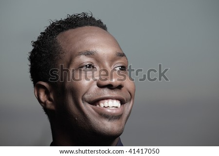 Close-up headshot of a African American male - stock photo