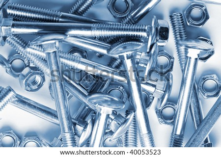 close up heap of  bolts and nuts - stock photo
