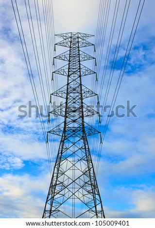 close-up High voltage tower on blue sky