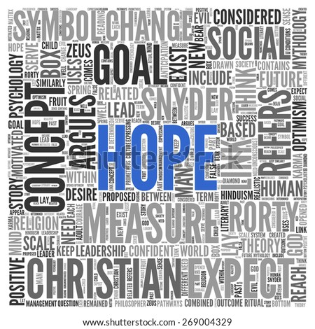 Close up HOPE Text at the Center of Word Tag Cloud on White Background. - stock photo