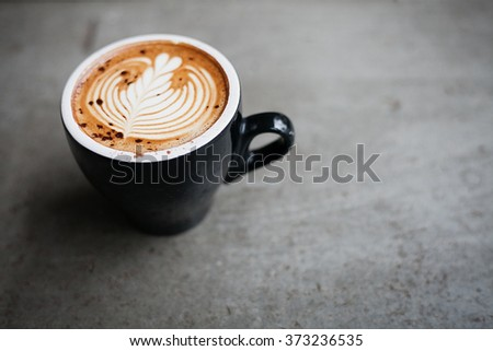 Close up hot coffee with space, vintage style  - stock photo