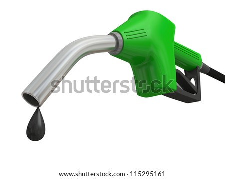 Close-up illustration of green fuel pump nozzle with oil drop isolated on white background