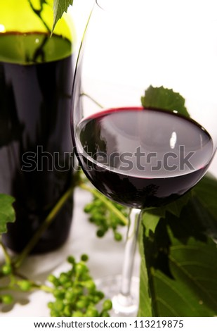 Close up image goblet with red wine inside - stock photo