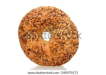 Close-up image of a bagel bread with sesame seeds isolated on a white surface - stock photo