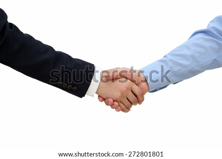 Close-up image of a firm handshake  between two colleagues on a white background - stock photo