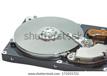 Close up image of a hard disk - stock photo