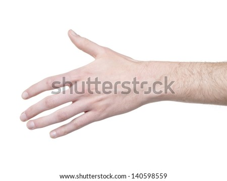 Close-up image of a human hand offering handshake isolated on a white surface